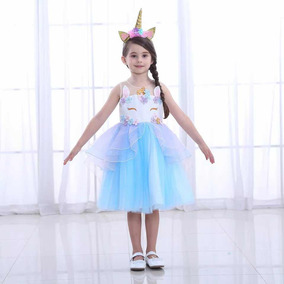 Vestido Unicornio Nina Talla 4-12 Anos Color Celeste