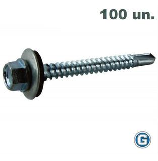 Tornillo Autoperforante Techo 14 X 2 Bolsa X 100 Un Gramabi Con Arandela Chapa Goma Vulcanizada Punta Mecha Metal Madera