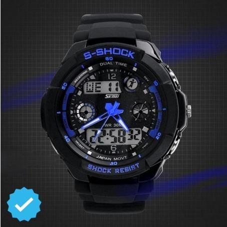 Relógio Masculino S - Shock Digital A Prova D Água Azul