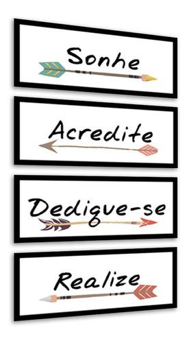 Quadros Decorativos Sonhe Acredite Dedique Realize Flechas