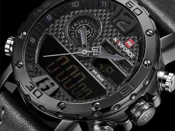 Relógio Masculino Naviforce Militar Esportivo Couro Original