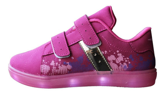 Zapatillas Fucsia Luces Klin Led Importadas Niñas 50% Off