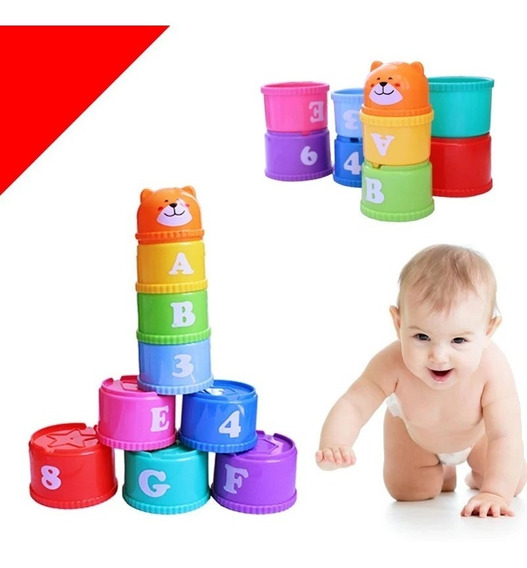 Potinho Empilhar Bebê Aprender Numeros Letras Encaixar 9 Pçs