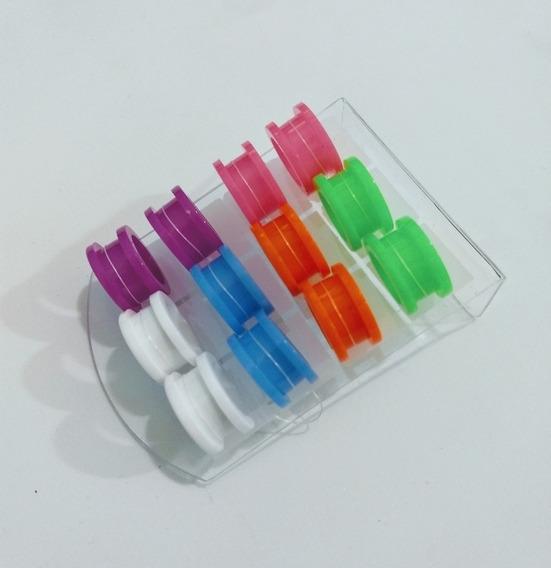 Alargador Colorido 16mm Plastico Acrilico 12 Unid/ Piercing