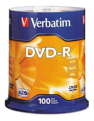 Dvd Verbatim -r Bulk X100 Unidades Estampado