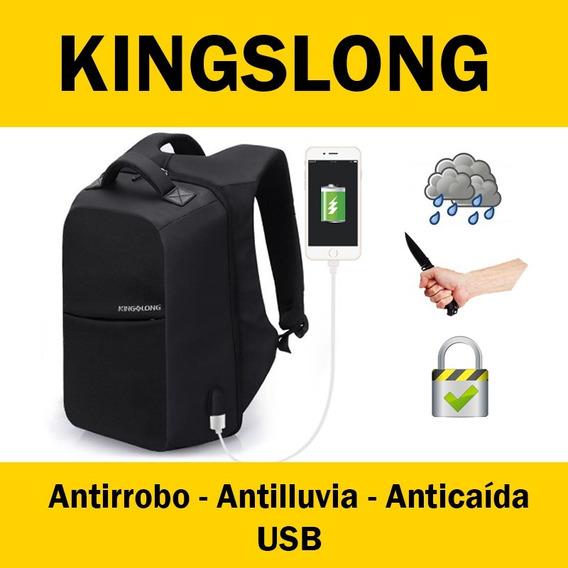 Mochila Kingslong 15.6 - Antirrobo - Antilluvia - Agua - Usb