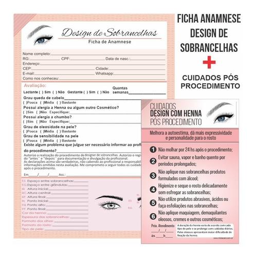Imagem 1 de 4 de Ficha Anamnese Designer De Sobrancelha + Cuidados Pós Melhor