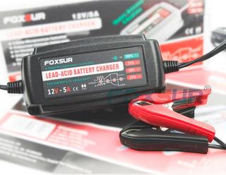 Cargador Bateria Carro Moto A La Pared Foxsur 12v 5a 220v