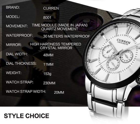 Relógio Curren Luxo Cronometro Prova Dágua 8001ag Envio Rápi