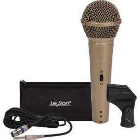 Microfone Com Fio Profissional Ls58 Champanhe Leson + Cabo