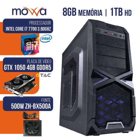 Pc Gamer Mvx7 Intel I7 8gb Hd 1tb Hdmi Vga Gtx 1050 Ti 500w