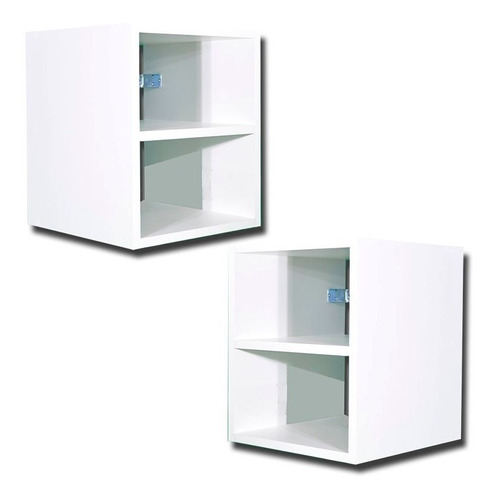 2 Criados-mudos  Sala Suspenso Mdf Branco Com Acessorios