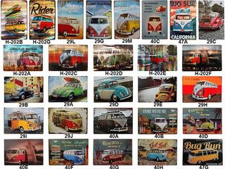 Placas Metal Retro Vintage Kombi Fusca Carros Antigos Garage