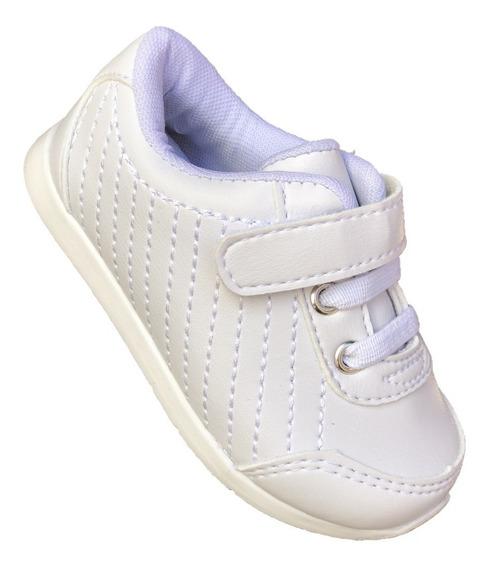 Tenis Bebe Infantil Menino Menina Branco Batizado