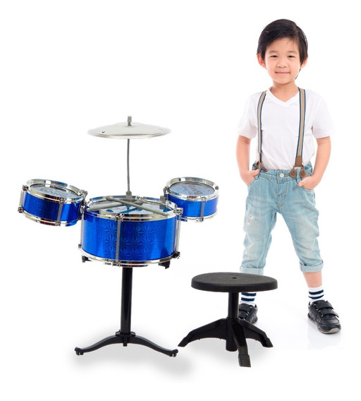 Bateria De Brinquedo Infantil Azul