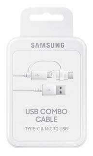Cabo Usb Combo Com Ponta Dupla Micro Usb + Usb-c Original Samsung - Carrega E Sincroniza