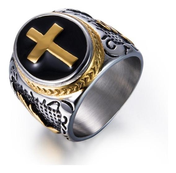 Anel Prateado Templarios Religioso Cruzada Fe