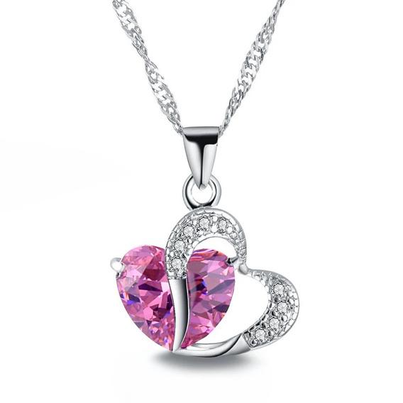 Hermoso Collar Dije Corazón Cristal Rosa, Ideal Para Regalo