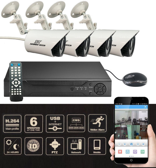Kit Seguridad Cctv Dvr 4ch Full Hd + 4 Camaras P2p Cuotas Sin Interes!
