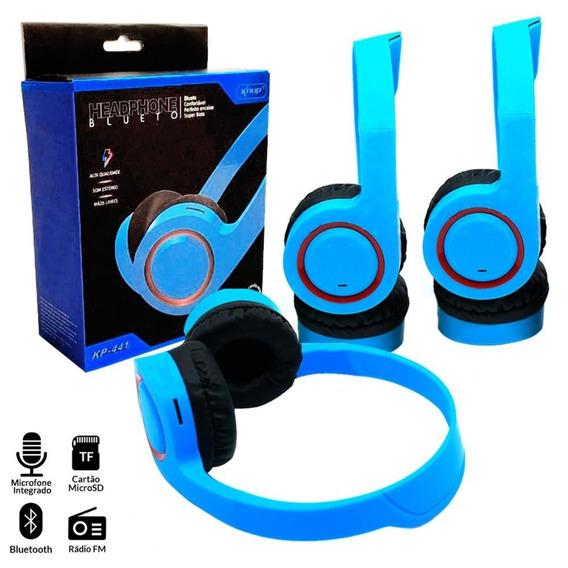 Fone De Ouvido Headphone Knup Kp441 Bt Mic Integ Kp-441 Azul