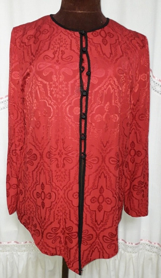 Camisola Quipao Chino Rojo Oscuro Talle L/g Pasamaneria
