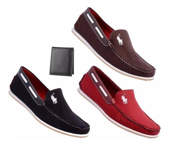Kit 3 Pares Sapatos Mocassins Masculinos Casual Blackfriday