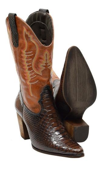 Bota Feminina Em Couro Texana Cano Medio Estilo Cobra 2614
