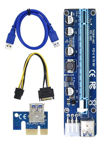 Tarjeta Extensor Pci-e Riser Molex 6 Pin Pci Express