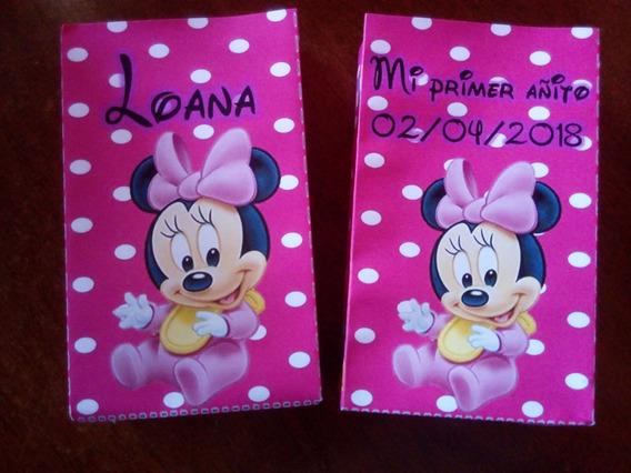 12 Bolsitas Golosineras Cierra Stickers Minnie Bebe Mickey