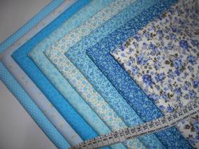 Kit Tecido 100% Algodão Tricoline - 70cmx50cm - Azul - H8az
