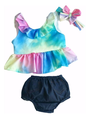 Imagem 1 de 7 de Conjunto Bebê Menina Tie Dye Mesversário Verão Mini Diva