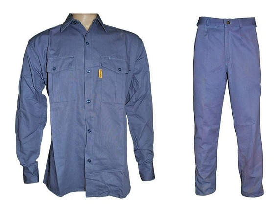 Camisa Y Pantalon De Trabajo Gaucho Azulino + Logo Bordado