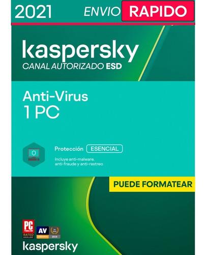 Imagen 1 de 4 de Kaspersky Anti-virus 1 Pc 1 Año