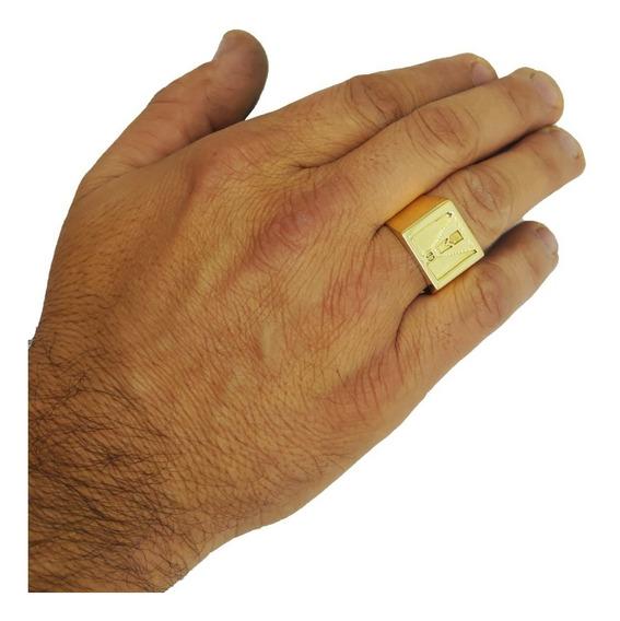 Anel Masculino Nossa Senhora Ouro 18kl/750 14 Gramas
