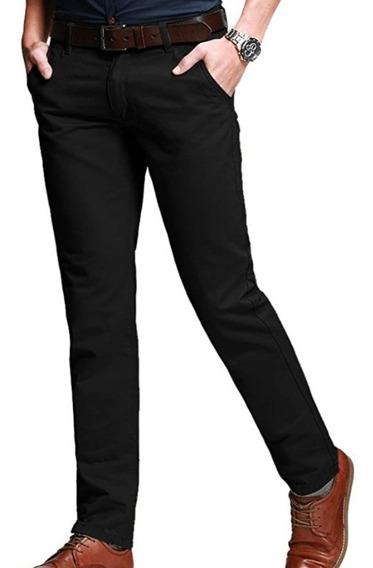 Calça Masculina Confortável De Sarja Slim Fit