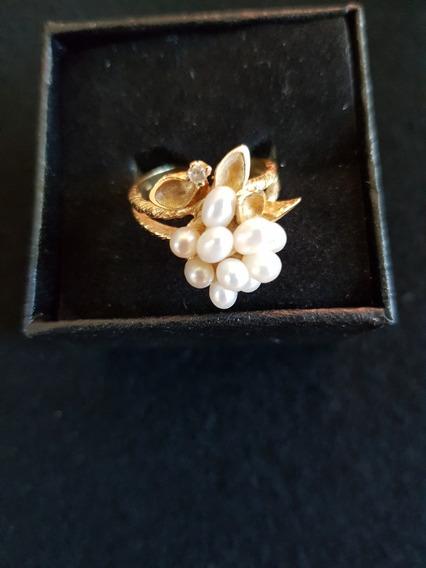 Anillo Cocktail 10 Perlas, 1 Diamante Y Oro 14k Solido