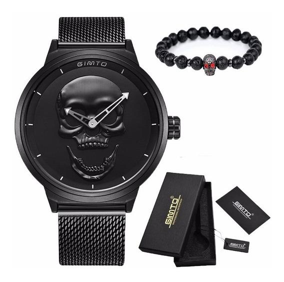 Relógio Caveira 3d Gimto Aço Inoxidável + Pulseira