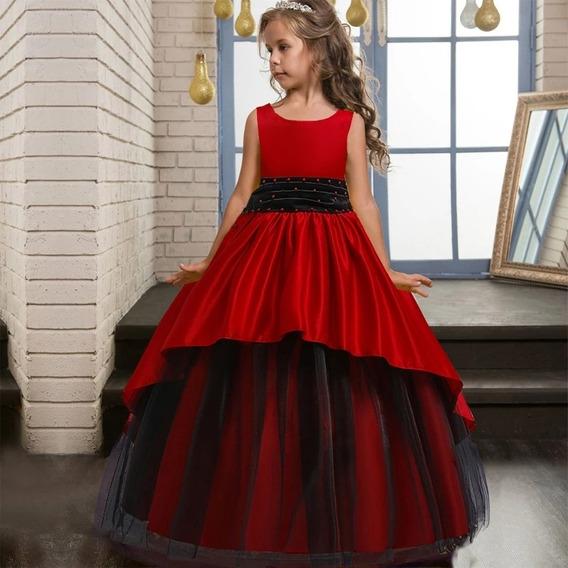 Vestido Niña Tul/ Fiesta/ Rojo - Negro