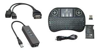 Mini Teclado + Adaptador Ethernet + Cable Otg Amazon Fire Tv