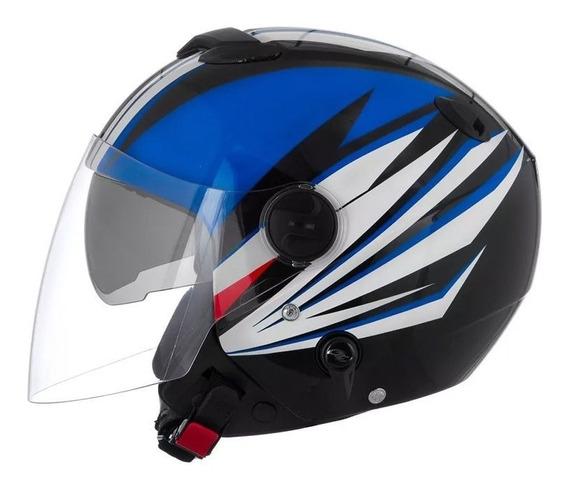 Capacete New Atomic Superbike Sb7 Preto Azul Branco Tam. 60