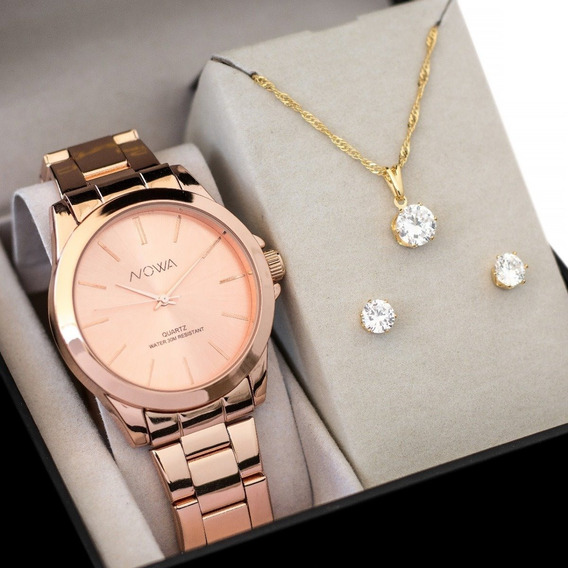 Relógio Nowa Feminino Nw4014k Rose Original+kit Brinde