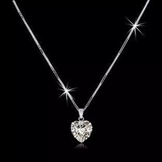 20 X Corrente Colar Feminino Ponto De Luz Coração Prata 925