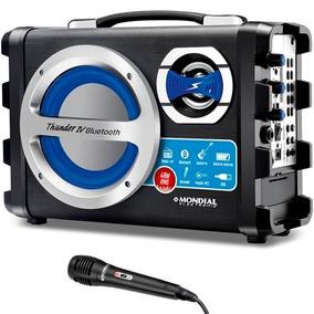 Caixa Som Amplificada Bluetooth Microfone Radio Fm Usb Aux