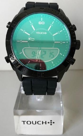 Relógio Touch Preto Digital E Analógico Pulseira De Silicone
