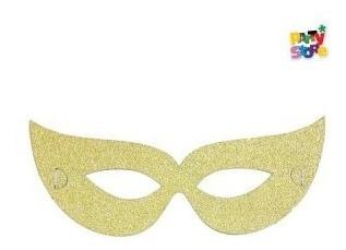 Combo Antifaz Papel Dorado Glitter X 144 Unidades