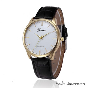 Relógio Masculino Pulso Pulseira Couro Original Promoção