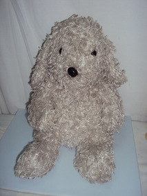 Pelucia Cachorro Cinza Com Ziper Tamanho 44cm