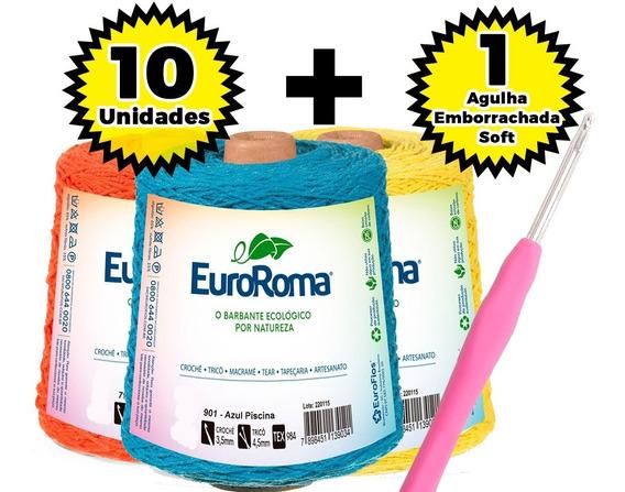 Barbante Euroroma 600g Nº 4/6/8 - Kit 10 Unid. + Agulha