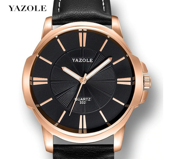 Relógio Masculino Yazole Original Barato Couro Top Promoção