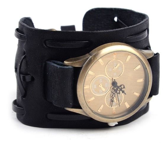 Relógio Bracelete Masculina Pulseira Larga Em Couro Polido
